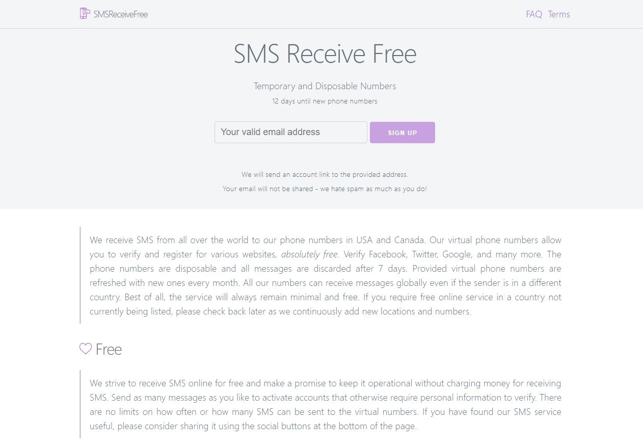 SMS Recieve Free